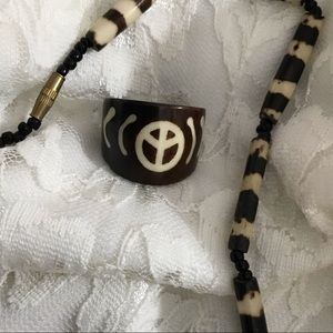 Vintage Bovine Bone Peace Ring